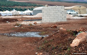 Urine puddle in Atmeh refugee camp