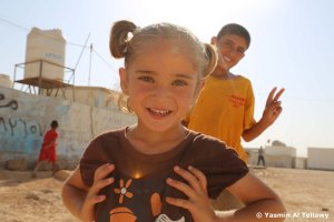 Syrian girl in refugee camp